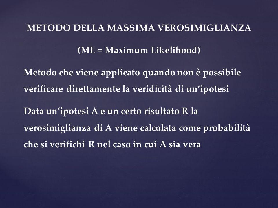 METODO DELLA MASSIMA VEROSIMIGLIANZA (ML = Maximum Likelihood) Metodo che viene applicato quando non è possibile verificare direttamente la veridicità