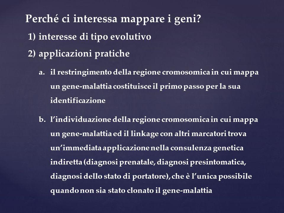 Perché ci interessa mappare i geni? 1) interesse di tipo evolutivo 2) applicazioni pratiche a.il restringimento della regione cromosomica in cui mappa