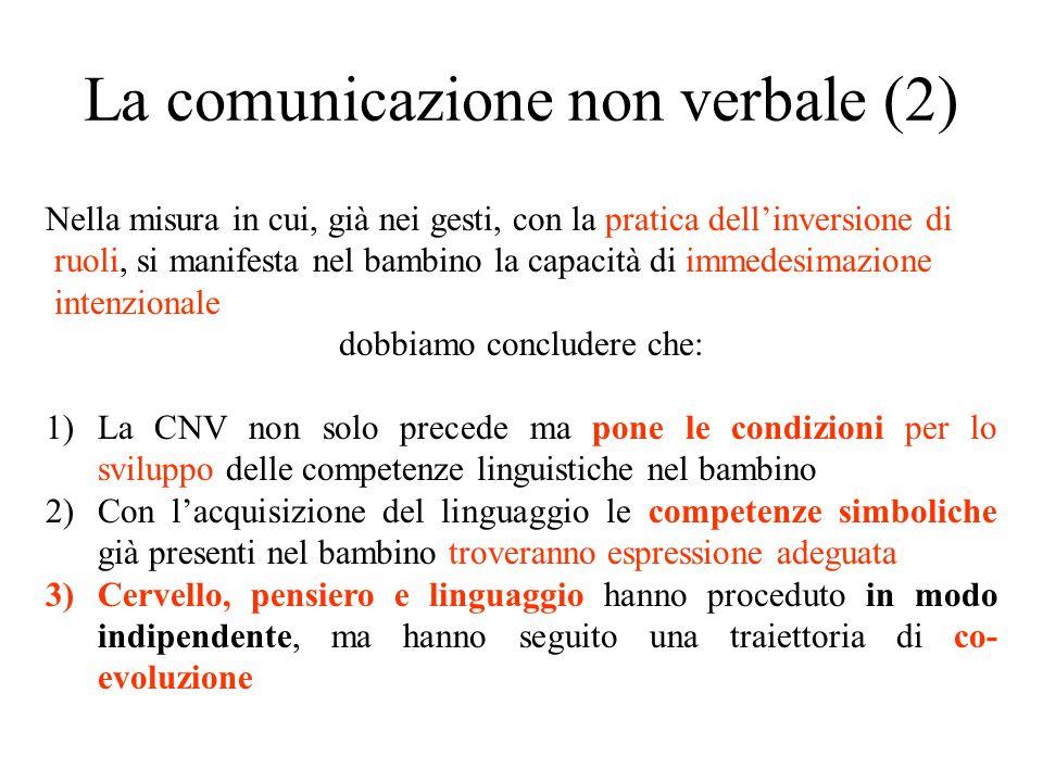 La comunicazione non verbale (2) Nella misura in cui, già nei gesti, con la pratica dell'inversione di ruoli, si manifesta nel bambino la capacità di