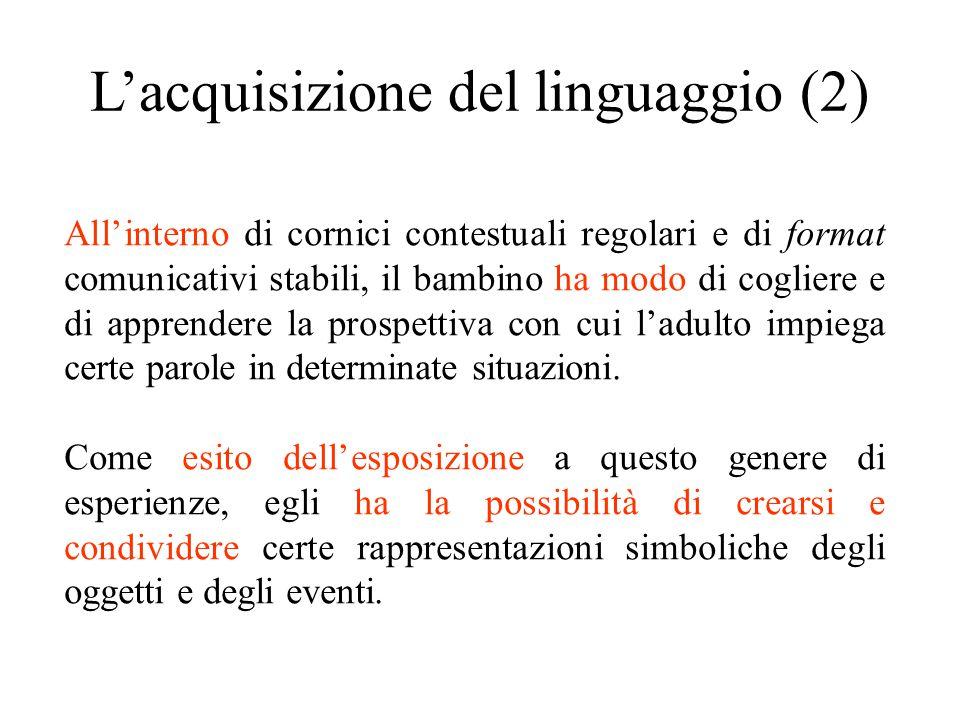 L'acquisizione del linguaggio (2) All'interno di cornici contestuali regolari e di format comunicativi stabili, il bambino ha modo di cogliere e di ap