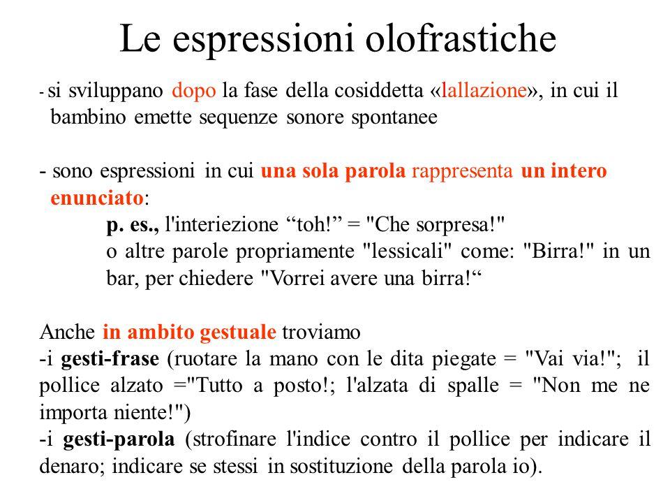 Le espressioni olofrastiche - si sviluppano dopo la fase della cosiddetta «lallazione», in cui il bambino emette sequenze sonore spontanee - sono espr