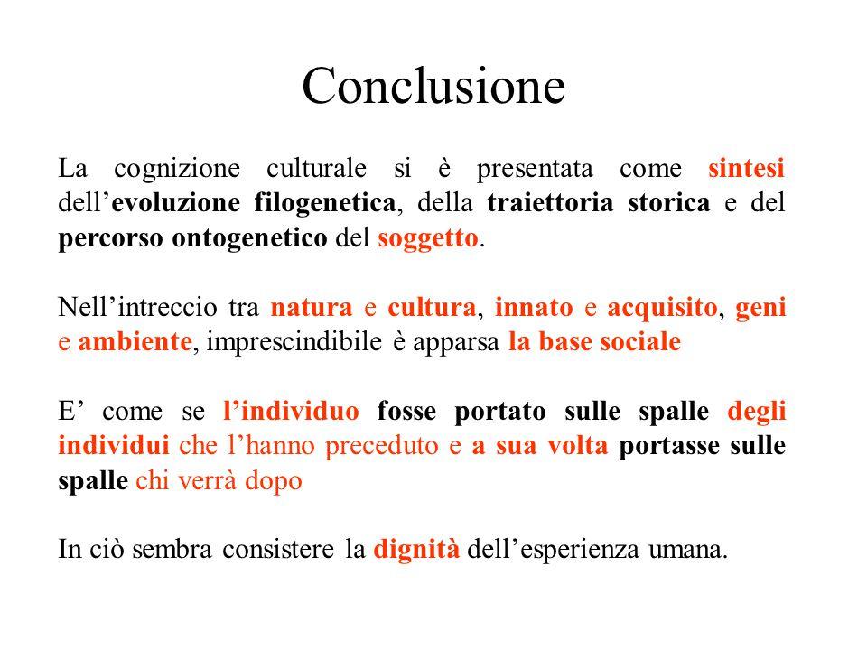 Conclusione La cognizione culturale si è presentata come sintesi dell'evoluzione filogenetica, della traiettoria storica e del percorso ontogenetico d
