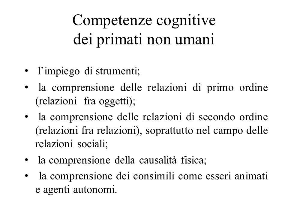 Competenze cognitive dei primati non umani l'impiego di strumenti; la comprensione delle relazioni di primo ordine (relazioni fra oggetti); la compren