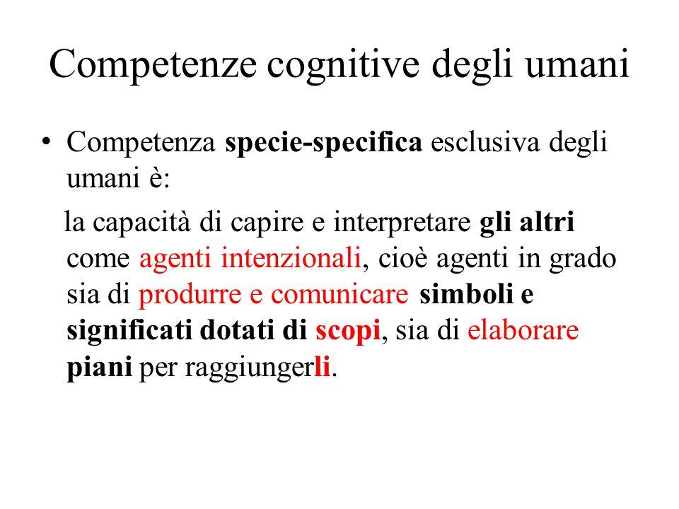 Competenze cognitive degli umani Competenza specie-specifica esclusiva degli umani è: la capacità di capire e interpretare gli altri come agenti inten