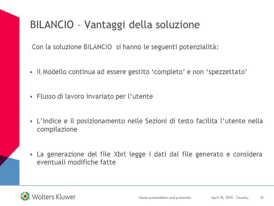 BILANCIO – Vantaggi della soluzione Con la soluzione BILANCIO si hanno le seguenti potenzialità:  Il Modello continua ad essere gestito 'completo' e