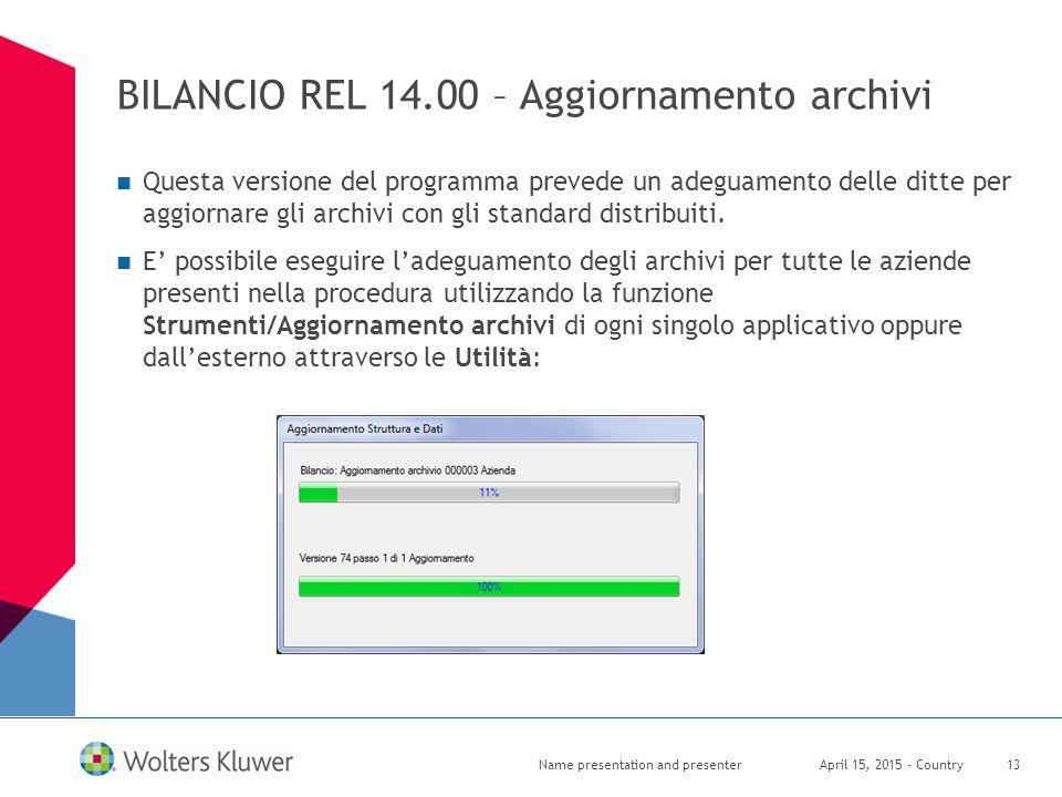 BILANCIO REL 14.00 – Aggiornamento archivi Questa versione del programma prevede un adeguamento delle ditte per aggiornare gli archivi con gli standar
