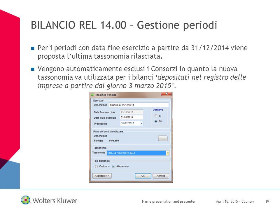 BILANCIO REL 14.00 – Gestione periodi Per i periodi con data fine esercizio a partire da 31/12/2014 viene proposta l'ultima tassonomia rilasciata. Ven