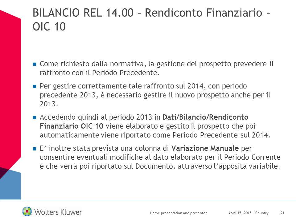 BILANCIO REL 14.00 – Rendiconto Finanziario – OIC 10 Come richiesto dalla normativa, la gestione del prospetto prevedere il raffronto con il Periodo P