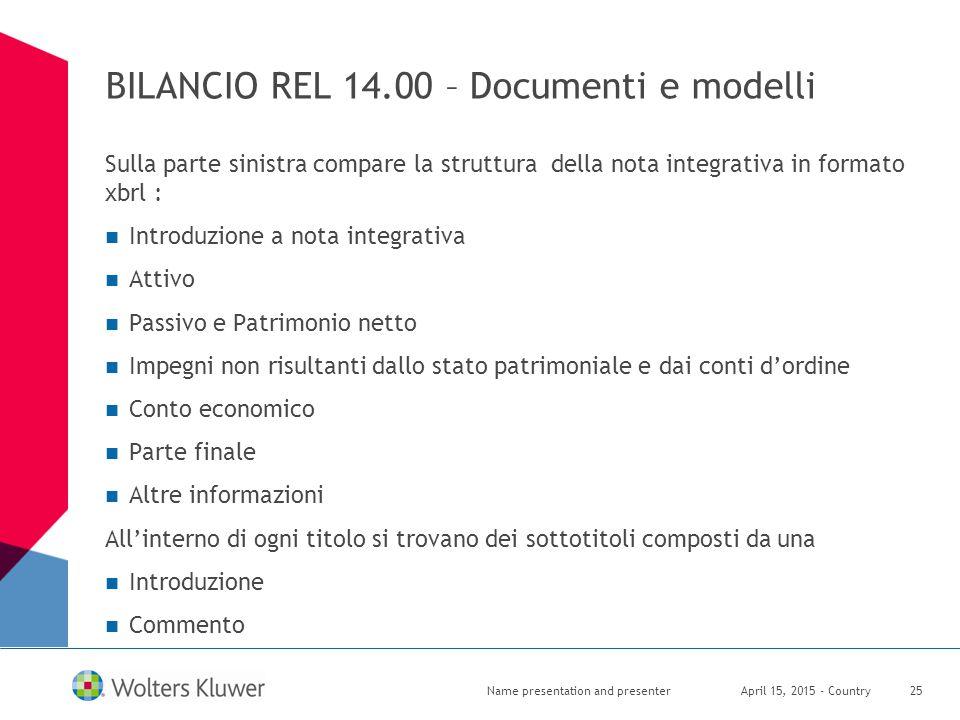 BILANCIO REL 14.00 – Documenti e modelli Sulla parte sinistra compare la struttura della nota integrativa in formato xbrl : Introduzione a nota integr