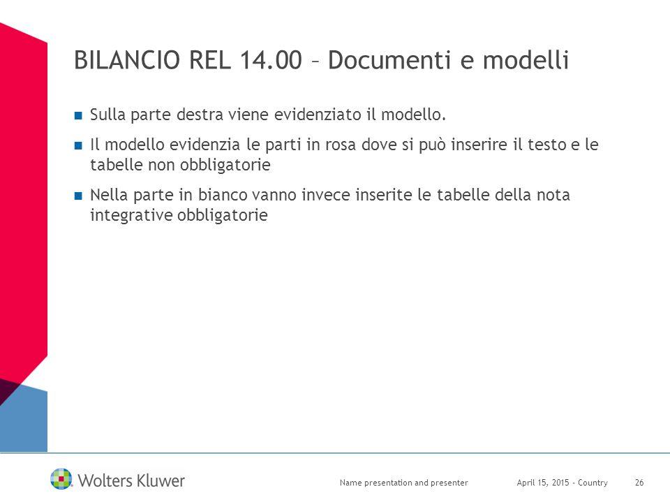 BILANCIO REL 14.00 – Documenti e modelli April 15, 2015 - CountryName presentation and presenter26 Sulla parte destra viene evidenziato il modello. Il