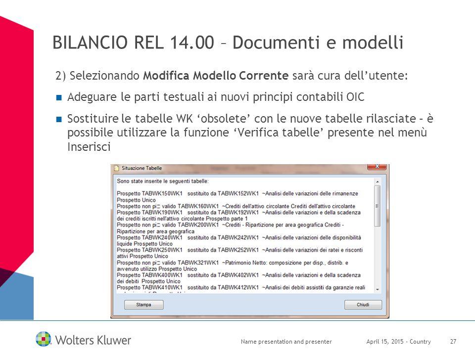 BILANCIO REL 14.00 – Documenti e modelli 2) Selezionando Modifica Modello Corrente sarà cura dell'utente: Adeguare le parti testuali ai nuovi principi
