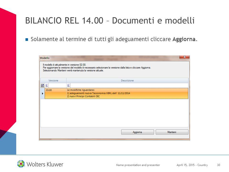 BILANCIO REL 14.00 – Documenti e modelli Solamente al termine di tutti gli adeguamenti cliccare Aggiorna. April 15, 2015 - CountryName presentation an