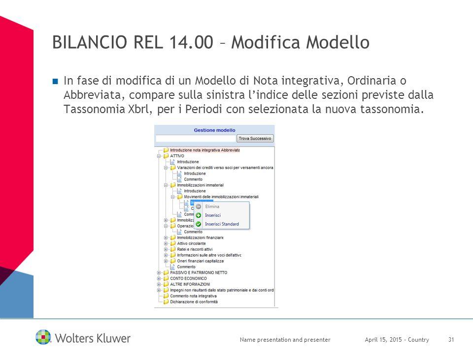 BILANCIO REL 14.00 – Modifica Modello In fase di modifica di un Modello di Nota integrativa, Ordinaria o Abbreviata, compare sulla sinistra l'indice d