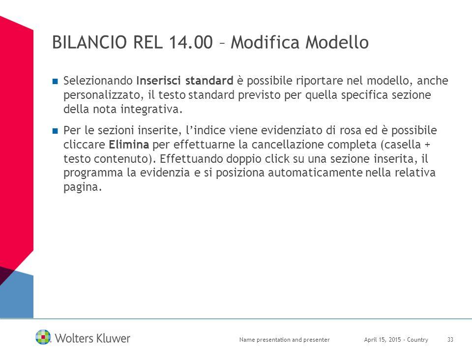 BILANCIO REL 14.00 – Modifica Modello Selezionando Inserisci standard è possibile riportare nel modello, anche personalizzato, il testo standard previ