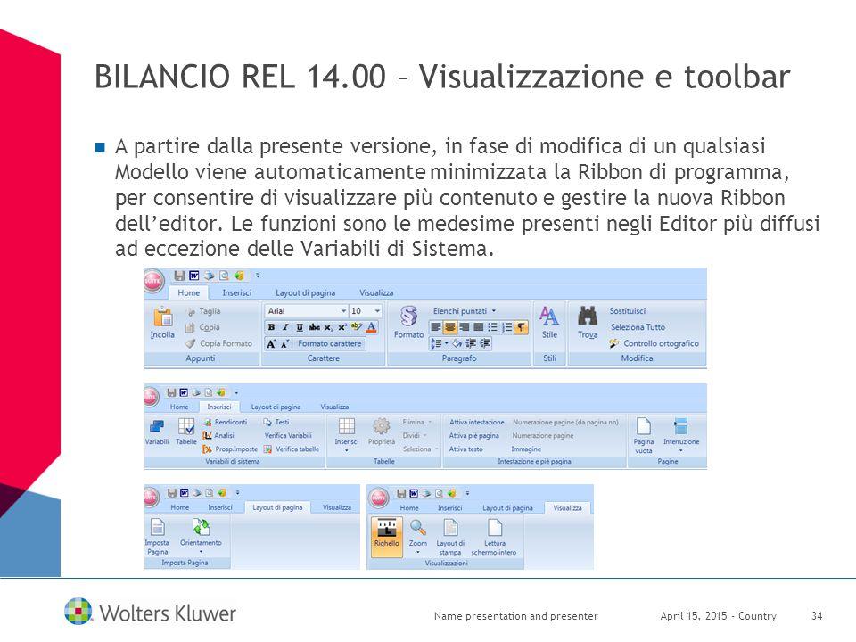 BILANCIO REL 14.00 – Visualizzazione e toolbar A partire dalla presente versione, in fase di modifica di un qualsiasi Modello viene automaticamente mi