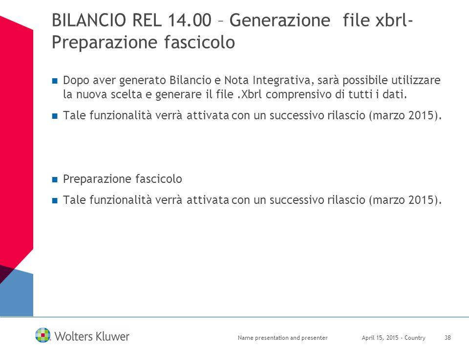 BILANCIO REL 14.00 – Generazione file xbrl- Preparazione fascicolo Dopo aver generato Bilancio e Nota Integrativa, sarà possibile utilizzare la nuova
