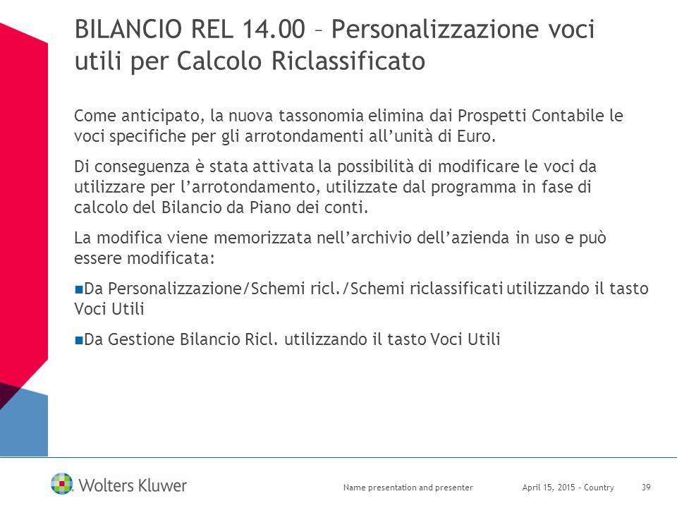 BILANCIO REL 14.00 – Personalizzazione voci utili per Calcolo Riclassificato Come anticipato, la nuova tassonomia elimina dai Prospetti Contabile le v