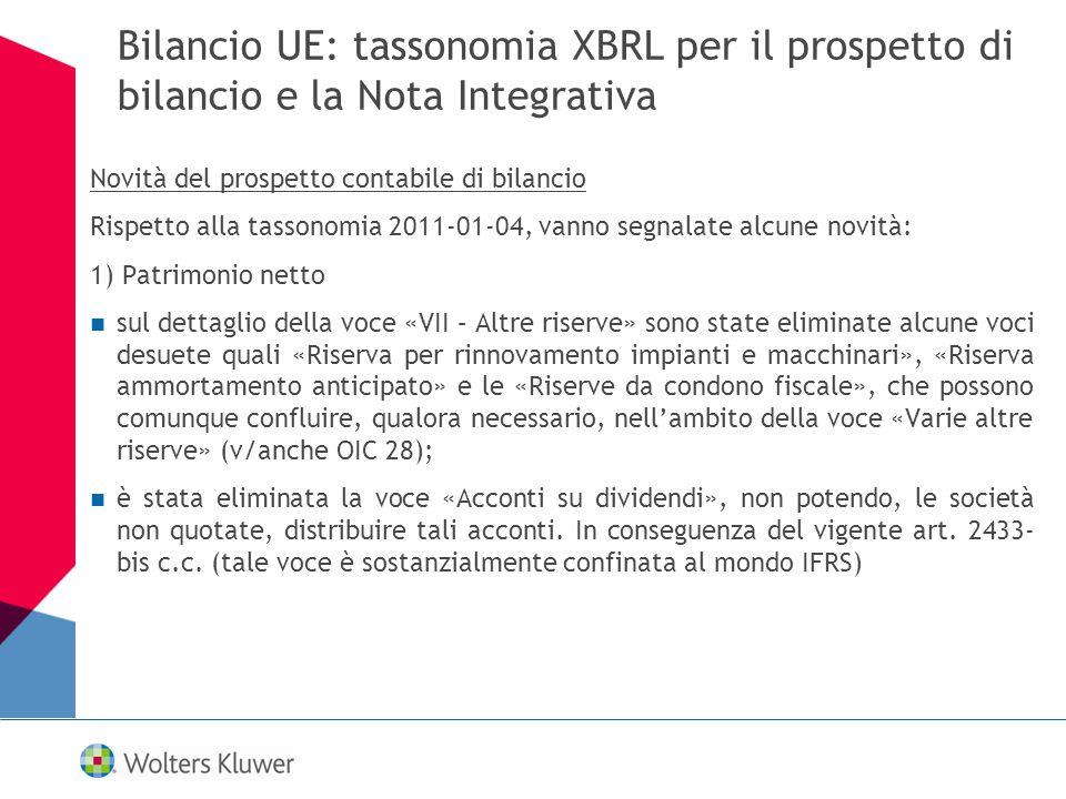 Bilancio UE: tassonomia XBRL per il prospetto di bilancio e la Nota Integrativa Novità del prospetto contabile di bilancio Rispetto alla tassonomia 20
