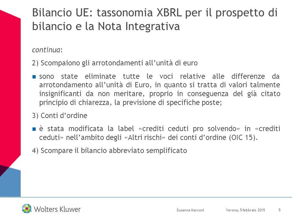 Bilancio UE: tassonomia XBRL per il prospetto di bilancio e la Nota Integrativa continua: 2) Scompaiono gli arrotondamenti all'unità di euro sono stat