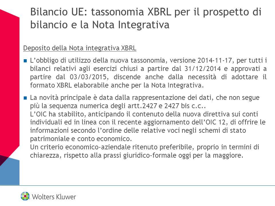 Bilancio UE: tassonomia XBRL per il prospetto di bilancio e la Nota Integrativa Deposito della Nota integrativa XBRL L'obbligo di utilizzo della nuova