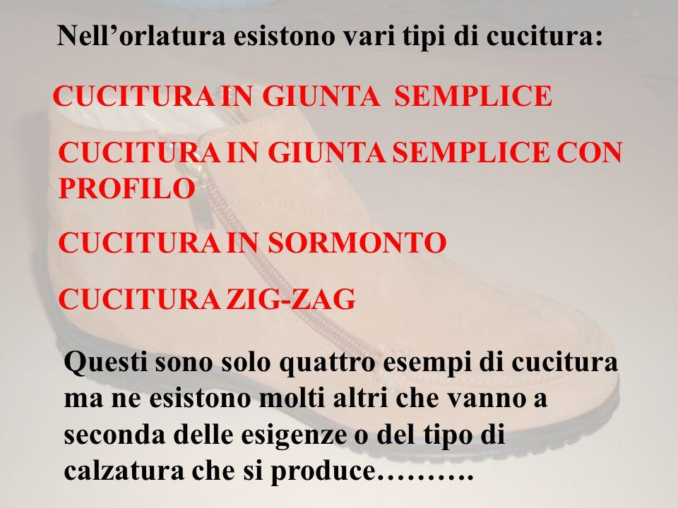 Nell'orlatura esistono vari tipi di cucitura: CUCITURA IN GIUNTA SEMPLICE CUCITURA IN GIUNTA SEMPLICE CON PROFILO CUCITURA IN SORMONTO CUCITURA ZIG-ZA