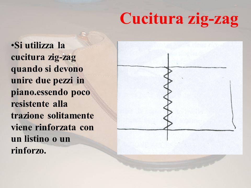 Cucitura zig-zag Si utilizza la cucitura zig-zag quando si devono unire due pezzi in piano.essendo poco resistente alla trazione solitamente viene rin