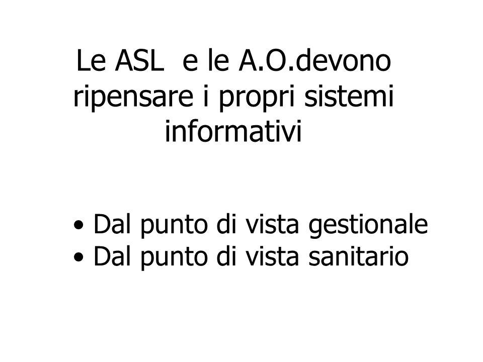 Le ASL e le A.O.devono ripensare i propri sistemi informativi Dal punto di vista gestionale Dal punto di vista sanitario