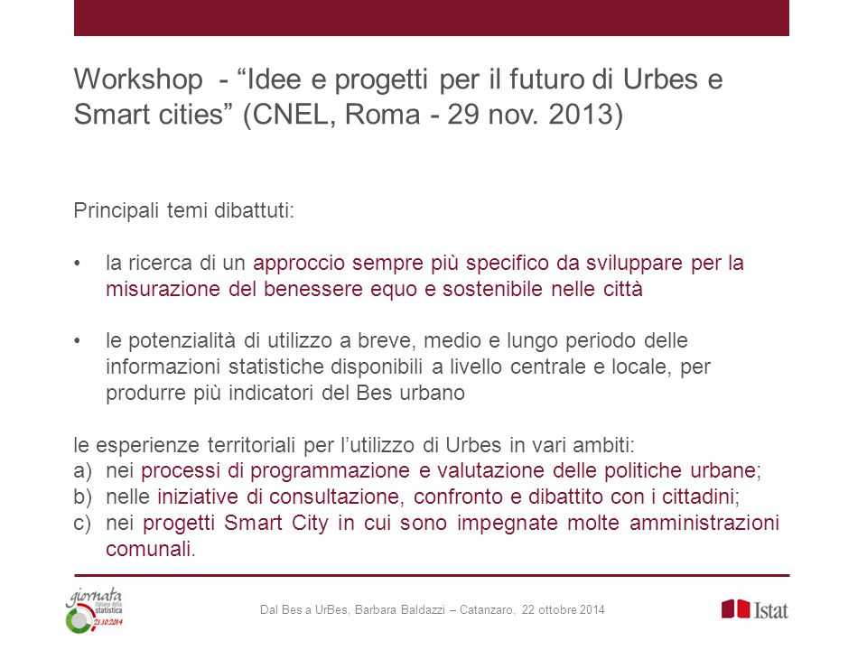 Workshop - Idee e progetti per il futuro di Urbes e Smart cities (CNEL, Roma - 29 nov.