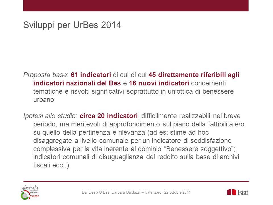 Sviluppi per UrBes 2014 Dal Bes a UrBes, Barbara Baldazzi – Catanzaro, 22 ottobre 2014 Proposta base: 61 indicatori di cui di cui 45 direttamente rife