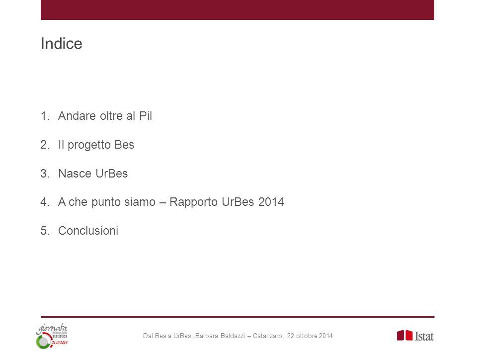 Indice 1.Andare oltre al Pil 2.Il progetto Bes 3.Nasce UrBes 4.A che punto siamo – Rapporto UrBes 2014 5.Conclusioni Dal Bes a UrBes, Barbara Baldazzi