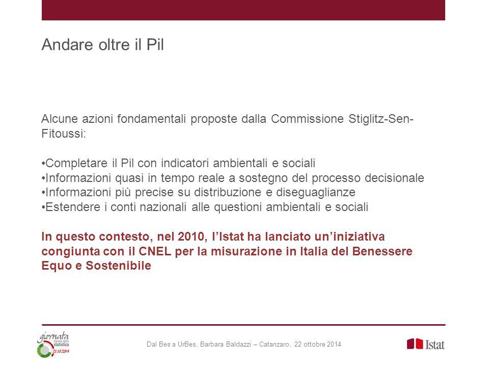 Andare oltre il Pil Alcune azioni fondamentali proposte dalla Commissione Stiglitz-Sen- Fitoussi: Completare il Pil con indicatori ambientali e social