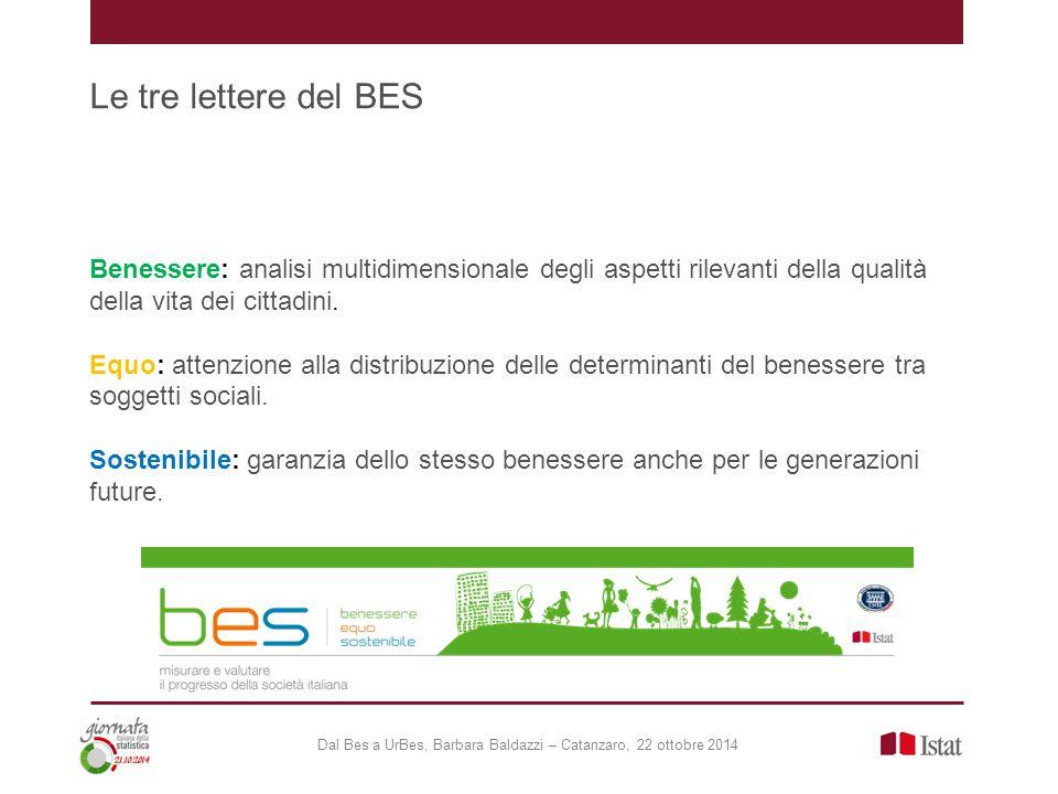 BES: gli strumenti Dal Bes a UrBes, Barbara Baldazzi – Catanzaro, 22 ottobre 2014 Produrre una serie di indicatori in grado di offrire una visione condivisa di progresso per l Italia attraverso: a) Comitato d'indirizzo che ha elaborato una definizione condivisa di progresso attraverso 12 domini; b) Commissione scientifica che ha selezionato gli indicatori per ogni dominio (132 indicatori in totale); c) Consultazione pubblica  Indagine Multiscopo – l'importanza dei domini del benessere  Questionario on-line  Blog  Incontri regionali