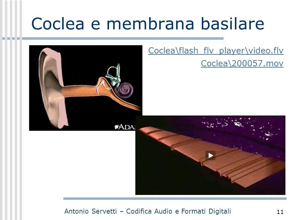 Antonio Servetti – Codifica Audio e Formati Digitali 11 Coclea e membrana basilare Coclea\flash_flv_player\video.flv Coclea\200057.mov