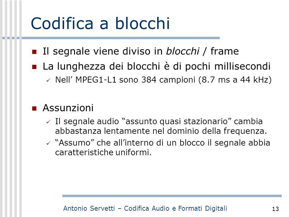 Antonio Servetti – Codifica Audio e Formati Digitali 13 Codifica a blocchi Il segnale viene diviso in blocchi / frame La lunghezza dei blocchi è di po