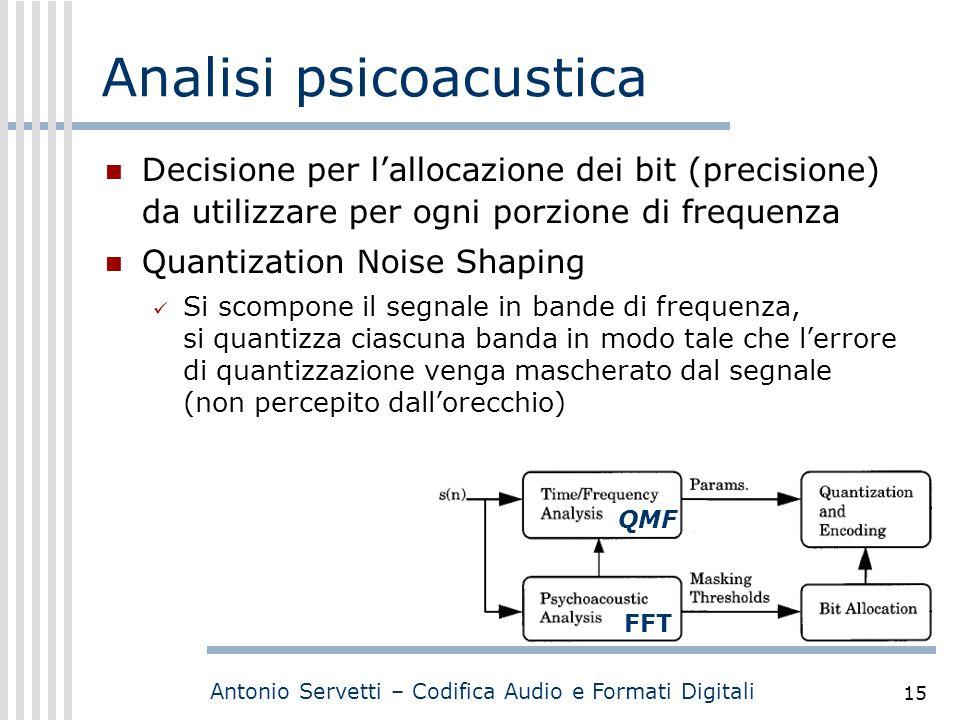 Antonio Servetti – Codifica Audio e Formati Digitali 15 Analisi psicoacustica Decisione per l'allocazione dei bit (precisione) da utilizzare per ogni