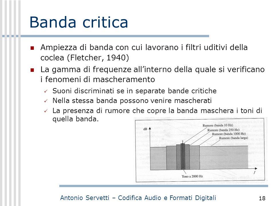 Antonio Servetti – Codifica Audio e Formati Digitali 18 Banda critica Ampiezza di banda con cui lavorano i filtri uditivi della coclea (Fletcher, 1940