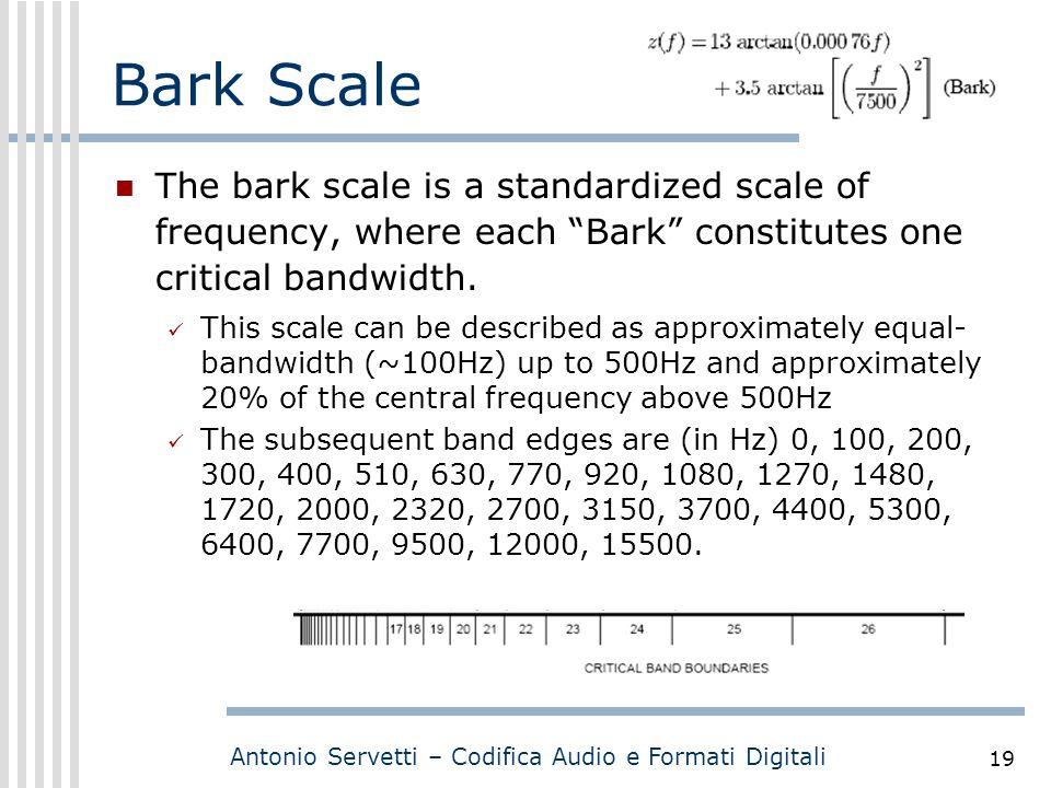 """Antonio Servetti – Codifica Audio e Formati Digitali 19 Bark Scale The bark scale is a standardized scale of frequency, where each """"Bark"""" constitutes"""