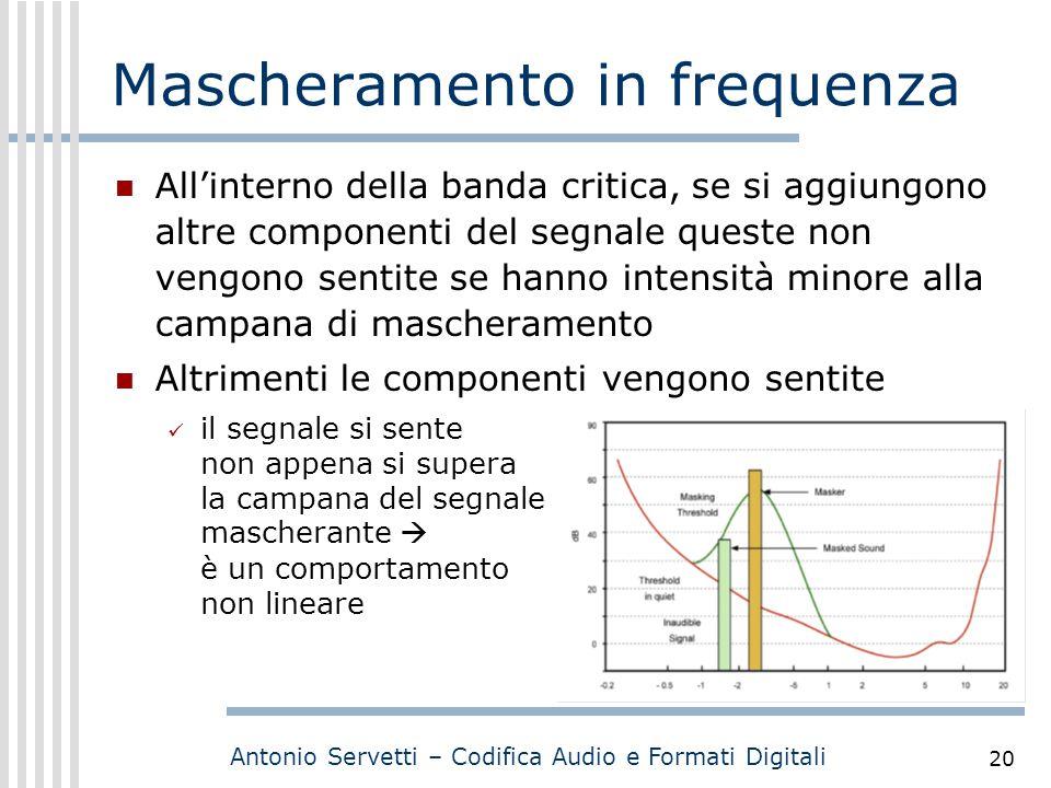 Antonio Servetti – Codifica Audio e Formati Digitali 20 Mascheramento in frequenza All'interno della banda critica, se si aggiungono altre componenti