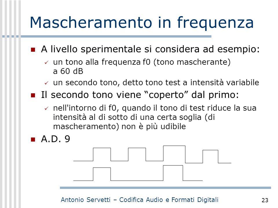 Antonio Servetti – Codifica Audio e Formati Digitali 23 Mascheramento in frequenza A livello sperimentale si considera ad esempio: un tono alla freque