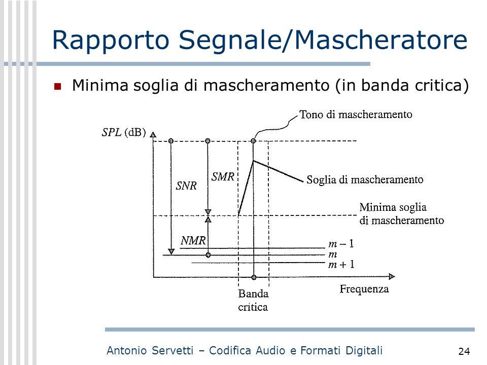 Antonio Servetti – Codifica Audio e Formati Digitali 24 Rapporto Segnale/Mascheratore Minima soglia di mascheramento (in banda critica) Scala logaritm