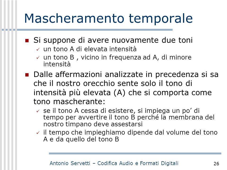 Antonio Servetti – Codifica Audio e Formati Digitali 26 Mascheramento temporale Si suppone di avere nuovamente due toni un tono A di elevata intensità