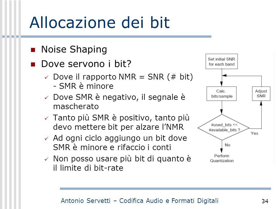 Antonio Servetti – Codifica Audio e Formati Digitali 34 Allocazione dei bit Noise Shaping Dove servono i bit? Dove il rapporto NMR = SNR (# bit) - SMR