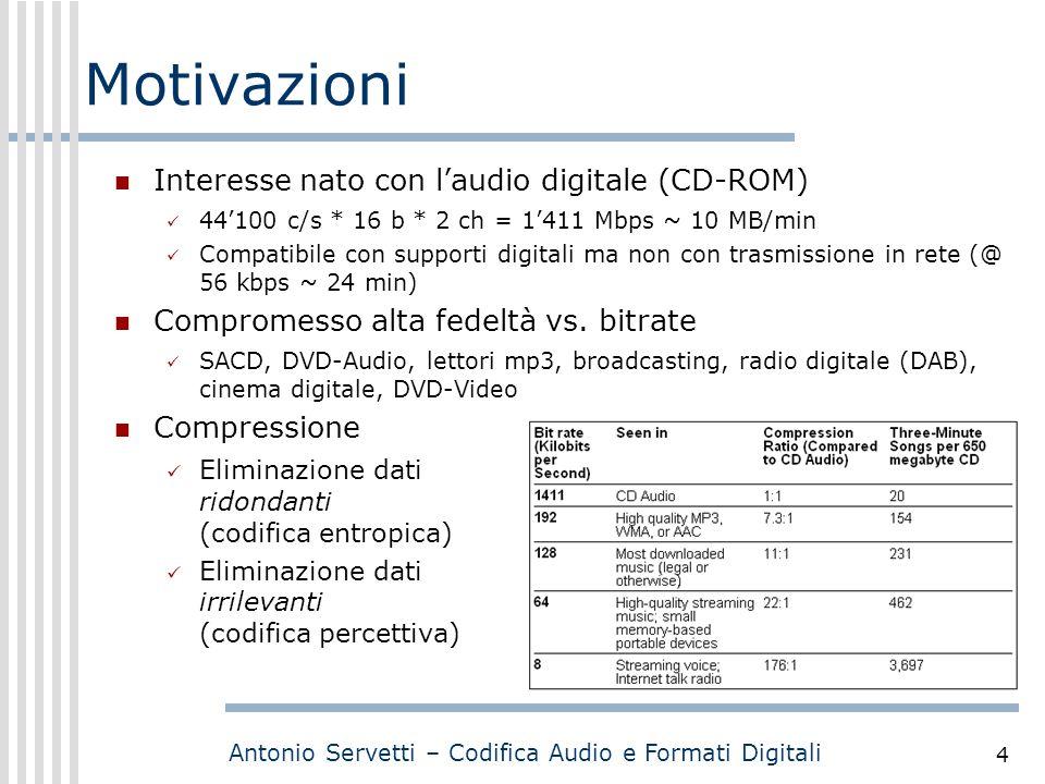 Antonio Servetti – Codifica Audio e Formati Digitali 4 Motivazioni Interesse nato con l'audio digitale (CD-ROM) 44'100 c/s * 16 b * 2 ch = 1'411 Mbps