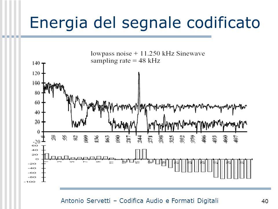 Antonio Servetti – Codifica Audio e Formati Digitali 40 Energia del segnale codificato