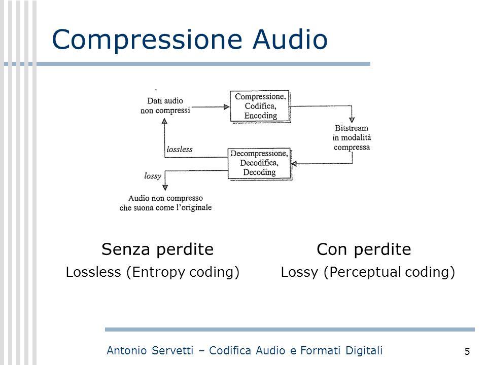Antonio Servetti – Codifica Audio e Formati Digitali 5 Compressione Audio Con perdite Lossy (Perceptual coding) Senza perdite Lossless (Entropy coding) The imperceptible information removed by the perceptual coder is called the irrelevancy of the signal.