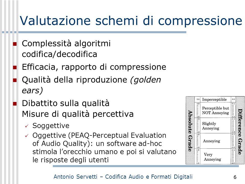Antonio Servetti – Codifica Audio e Formati Digitali 6 Valutazione schemi di compressione Complessità algoritmi codifica/decodifica Efficacia, rapport