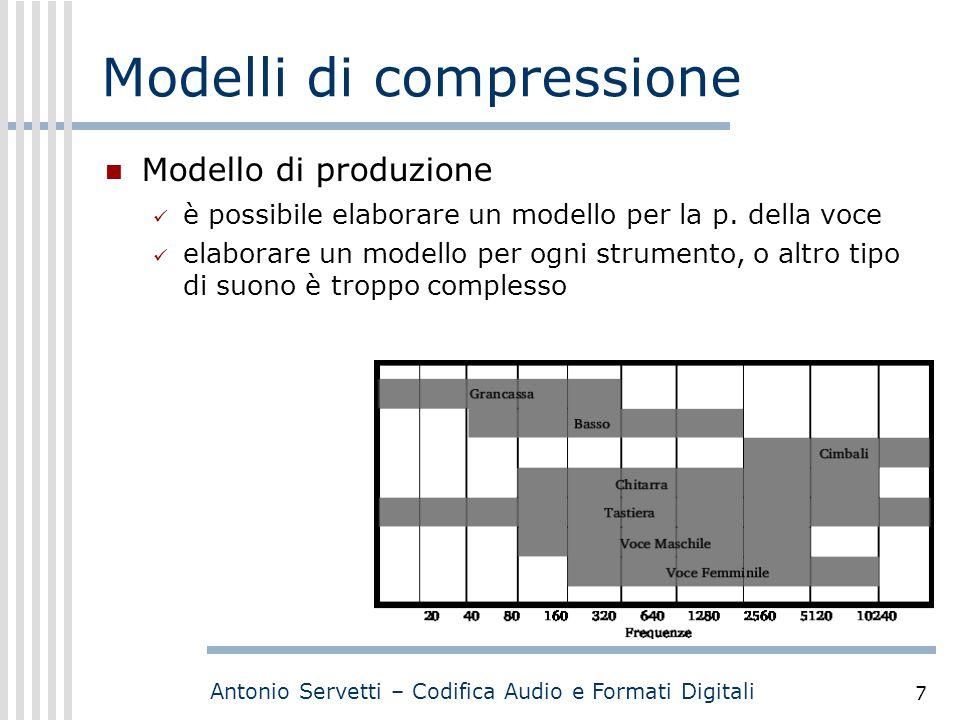 Antonio Servetti – Codifica Audio e Formati Digitali 7 Modelli di compressione Modello di produzione è possibile elaborare un modello per la p. della