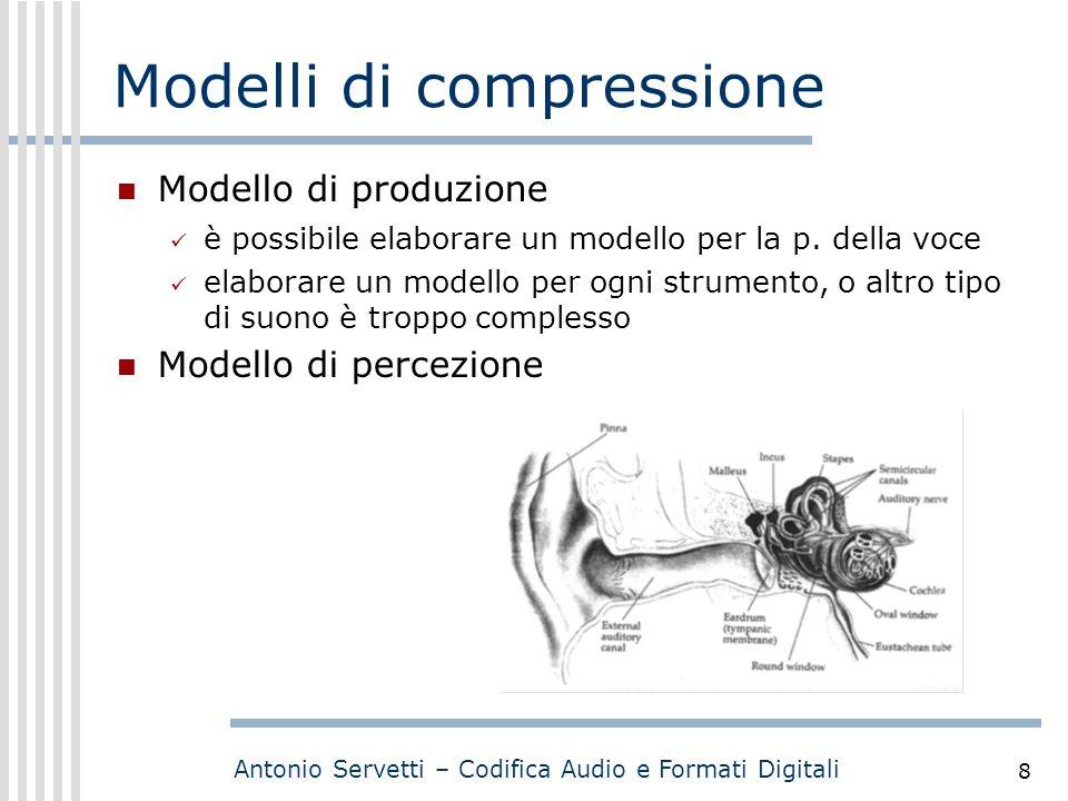 Antonio Servetti – Codifica Audio e Formati Digitali 8 Modelli di compressione Modello di produzione è possibile elaborare un modello per la p. della