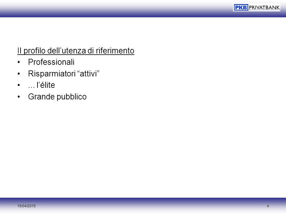 """15/04/20154 Il profilo dell'utenza di riferimento Professionali Risparmiatori """"attivi""""... l'élite Grande pubblico"""