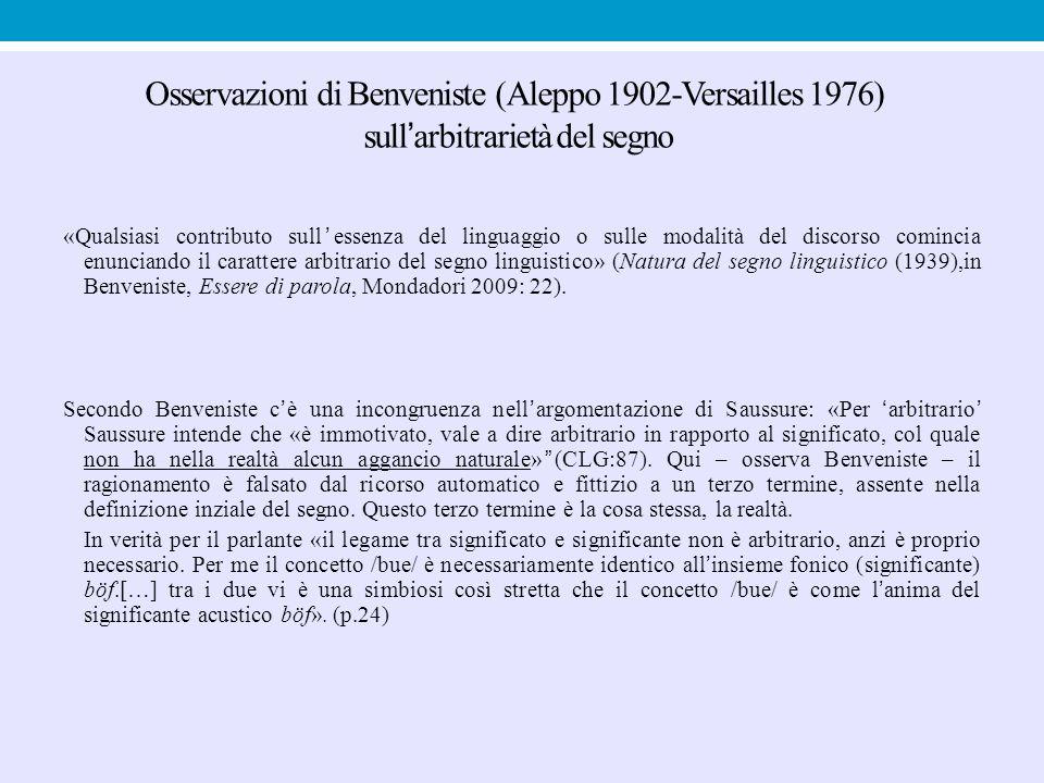 Osservazioni di Benveniste (Aleppo 1902-Versailles 1976) sull'arbitrarietà del segno «Qualsiasi contributo sull'essenza del linguaggio o sulle modalit